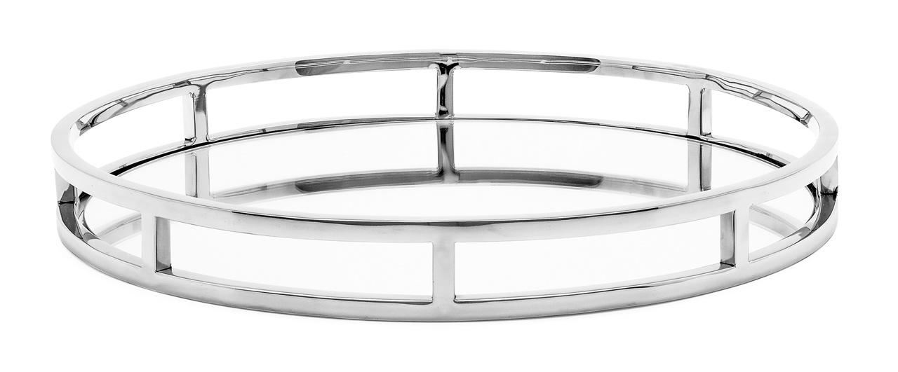 Lux Round Stainless Steel Mirror Tray 20077 | alvaluz.com