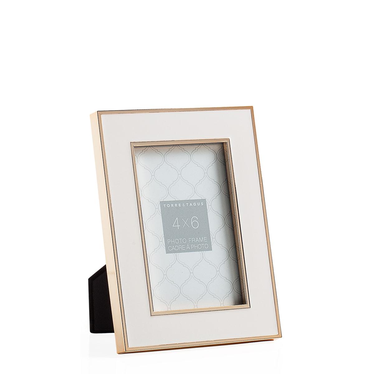 Regis Gold Trim White Enamel Frames | alvaluz.com