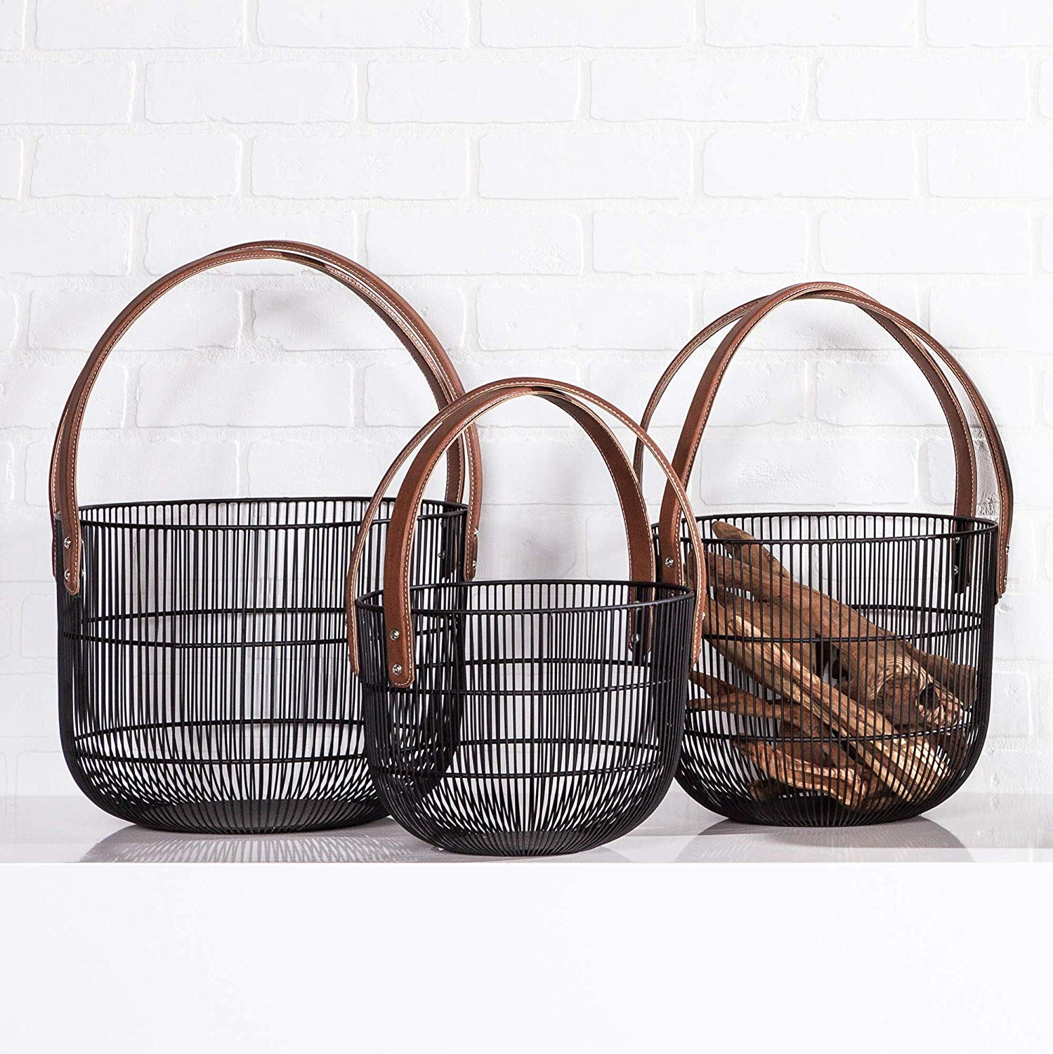 Mission Wire Faux Leather Handle Baskets | alvaluz.com