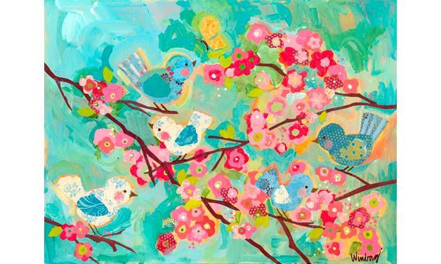 Cherry Blossom Birdies (44.54cm) | alvaluz.com