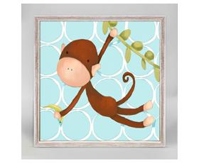 Hanging Monkey blue (15x15cm) | alvaluz.com