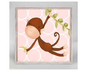 Hanging Monkey pink (15x15cm) | alvaluz.com
