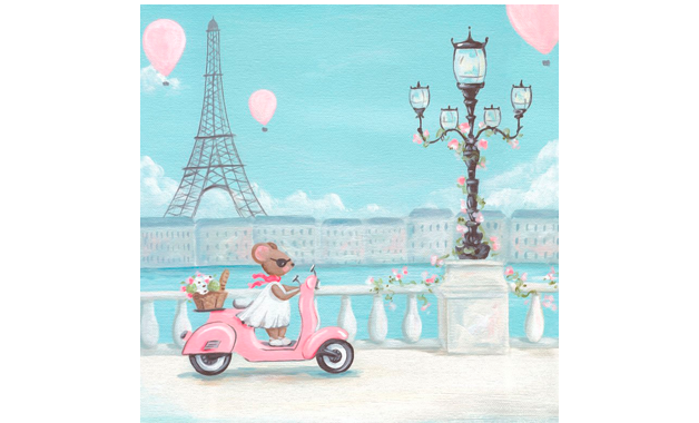 Little Pink Vespa (Canvas 36x36 cm) | alvaluz.com