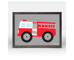 Ways to Wheel - little red fire engine (15x15cm) | alvaluz.com